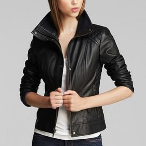 Cole Haan diamond quilted leather jacket black XL